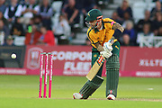 Alex Hales of Nottinghamshire Outlaws chops the ball for runs during the Vitality T20 Blast North Group match between Nottinghamshire County Cricket Club and Worcestershire County Cricket Club at Trent Bridge, West Bridgford, United Kingdon on 18 July 2019.