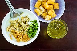 A bowl of Chao Trai at 20b Tran Xuan Soan street restaurant, Hanoi, Vietnam, Southeast Asia