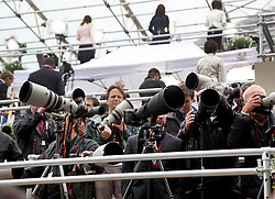 29 April 2011. London, England..Royal wedding day. Press photographers gather in their custom built stands ready for the day..Photo; Charlie Varley.