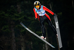 Daniela Haralambie of Romania soaring through the air during Trial Round at Day 1 of World Cup Ski Jumping Ladies Ljubno 2019, on February 8, 2019 in Ljubno ob Savinji, Slovenia. Photo by Matic Ritonja / Sportida