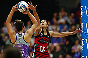 Temalisi Fakahokotau of the Tactix defends against Maia Wilson of the Stars. 2017 ANZ Premiership netball match, Northern Stars v Mainland Tactix at the Vodafone Events Centre, Auckland, New Zealand. 4 June 2017 © Copyright Photo: Anthony Au-Yeung / www.photosport.nz