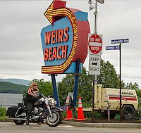 Weirs Beach is gearing up for Motorcycle Week 2016.  (Karen Bobotas/for the Laconia Daily Sun)