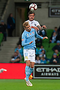 MELBOURNE, VIC - NOVEMBER 09: Melbourne City midfielder Nathaniel Atkinson (13) competes for a header with Wellington Phoenix defender Tom Doyle (19) at the Hyundai A-League Round 4 soccer match between Melbourne City FC and Wellington Phoenix on November 09, 2018 at AAMI Park in Melbourne, Australia. (Photo by Speed Media/Icon Sportswire)