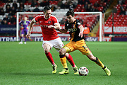 Bradford City midfielder Josh Cullen (14) battles for possession with Charlton Athletic midfielder Andrew Crofts (8) during the EFL Sky Bet League 1 match between Charlton Athletic and Bradford City at The Valley, London, England on 14 March 2017. Photo by Matthew Redman.