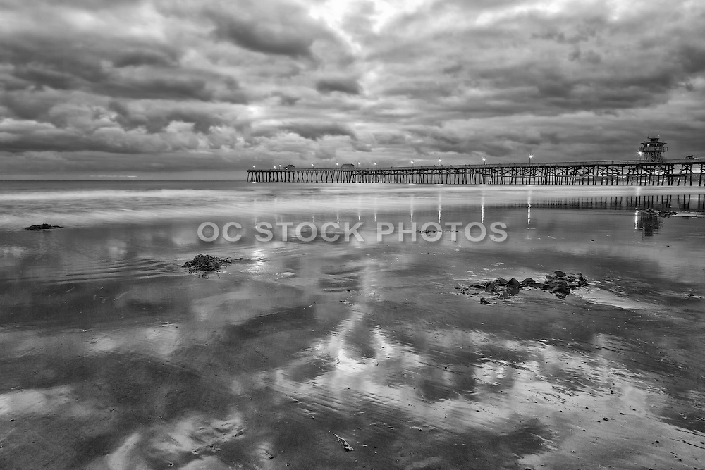 Black and White Stock Photo of San Clemente Pier