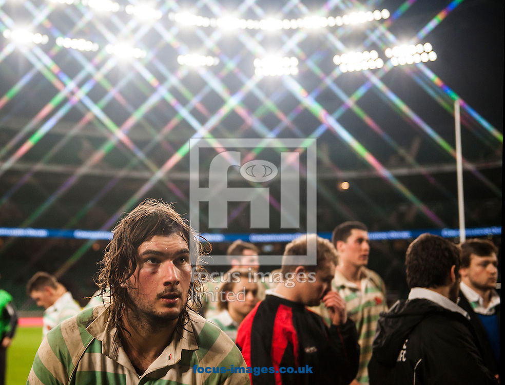 Sam Farmer of Cambridge University walks up to collect his consolation prize during the The Mens Varsity Match match at Twickenham Stadium, Twickenham<br /> Picture by Jack Megaw/Focus Images Ltd +44 7481 764811<br /> 10/12/2015