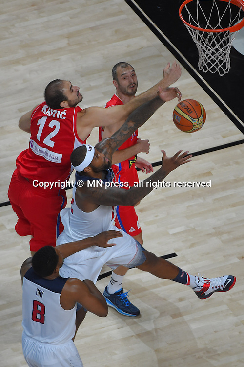 DEMARCUS COUSINS of United states of America basketball team in action during Final FIBA World cup match against NENAD KRSTIC of Serbia, Madrid, Spain Photo: MN PRESS PHOTO<br /> Basketball, Serbia, United states of America, Final, FIBA World cup Spain 2014