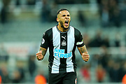 Jamaal Lascelles (#6) of Newcastle United celebrates following Newcastle United's victory over Manchester United in  the Premier League match between Newcastle United and Manchester United at St. James's Park, Newcastle, England on 6 October 2019.