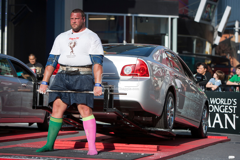 September 26, 2012. Long Beach, California.  The 2012 MET-Rx World's Strongest Man competition, saw 30 international competitors battle it out ion the Universal City walk, to win the ultimate strongman title. Pictured is Terry Hollands from England...Photo John Chapple / © IMG Media Ltd..