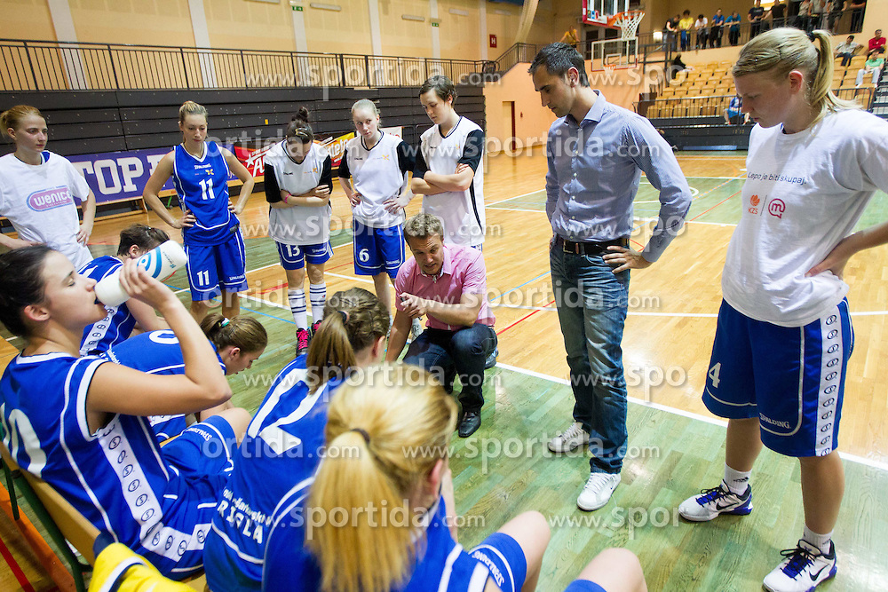 Tomo Oresnik, head coach of Triglav with his players during basketball match between ZKK Athlete Celje and ZKK Triglav in 1st Final of Slovenian Champions League 2011/12, on May 3, 2012 in Arena Gimnazija Celje Center, Celje, Slovenia. Athlete Celje defeated Triglav 79-73. (Photo by Vid Ponikvar / Sportida.com)