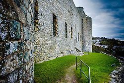 The walls of the great hall at Harlech Castle. Harlech Castle, located in Harlech, Gwynedd, Wales, is a medieval fortification, constructed atop a spur of rock close to the Irish Sea. It was built by Edward I during his invasion of Wales<br /> <br /> (c) Andrew Wilson | Edinburgh Elite media