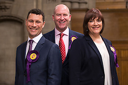 © Licensed to London News Pictures . FILE PICTURE DATED 25/05/2014 of STEVEN WOOLFE , PAUL NUTTALL and LOUSIE BOURS at Manchester Town Hall , UK as today , 14th July 2016 , Woolfe has declared his intention to stand as the next leader of UKIP , following the resignation of Nigel Farage . Photo credit : Joel Goodman/LNP