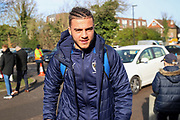 AFC Wimbledon defender Nesta Guinness-Walker (18) arriving for the game during the EFL Sky Bet League 1 match between AFC Wimbledon and Fleetwood Town at the Cherry Red Records Stadium, Kingston, England on 8 February 2020.