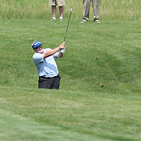 Mike Springer hitting his second shot on the 18th fairway at the 2016 American Family Championship held at University Ridge Golf Course, Madison,  WI. on June 24, 2016.<br /> <br /> <br /> <br /> <br /> <br />  2016 American Family Championship held at University Ridge Golf Course, Madison,  WI. on June 23, 2016.