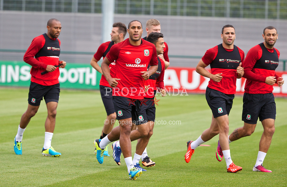 NEWPORT, WALES - Monday, August 12, 2013: Wales' captain Ashley Williams training at the FAW National Development Centre at Dragon Park ahead of the International friendly against the Republic of Ireland. (Pic by David Rawcliffe/Propaganda)