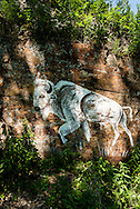 White Buffalo, mural, Bear Paw Mountains, east of Rocky Boy Indian Reservation, Montana
