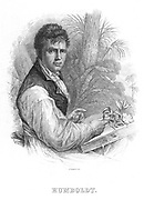 (Friedrich Wilhelm Heinrich)  Alexander von Humboldt (1769-1859) German naturalist. Humboldt's interests included geophysics, geology and botany, and he is sometimes called the founder of ecology. He is shown here at the time of his expedition in South America (1800-1804) when, with the French botanist Aime Bonplond (1773-1858), he explored the Orinoco and Amazon regions and collected 60,000 plant specimens.  Engraving (Edinburgh, c1830).