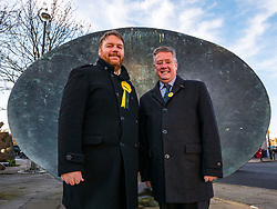 Pictured: SNP Depute Leader Keith Brown MSP joins Owen Thompson, SNP candidate for Midlothian<br /> <br /> Loanhead, Midlothian, Scotland, United Kingdom, 18 November 2019. General Election campaigning:  SNP Depute Leader Keith Brown MSP joins Owen Thomson, SNP candidate for Midlothian, on the campaign trail at Fountain Green, Loanhead.<br /> Sally Anderson | EdinburghElitemedia.co.uk