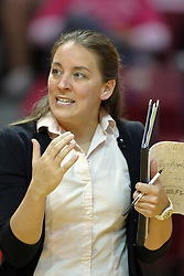 23 October 2010: REdbird head coach Melissa Myers during an NCAA, Missouri Valley Conference volleyball match between the Wichita State Shockers and the Illinois State Redbirds at Redbird Arena in Normal Illinois.