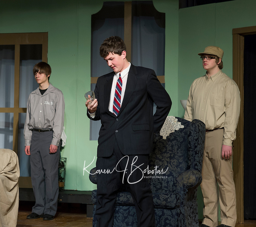 """General John Gordon Mackenzie played by Mitchell Bailey during final dress rehearsal for Laconia High School's production of """"And Then There Were None...""""  on Wednesday evening.  (Karen Bobotas/for the Laconia Daily Sun)"""