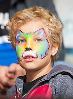 KELOWNA, CANADA - SEPTEMBER 25: A face painted fan on September 25, 2015 at Prospera Place in Kelowna, British Columbia, Canada.  (Photo by Marissa Baecker/Shoot the Breeze)  *** Local Caption *** fans;