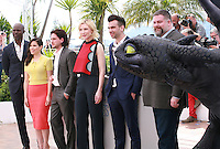 Djimon Hounsou, America Ferrera, Kit Harington, Cate Blanchett, Jay Baruchel and director Dean DeBlois with dragon at the photocall for the film How to Train Your Dragon 2 at the 67th Cannes Film Festival, Friday 16th May 2014, Cannes, France.