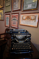 An Underwood typewriter on display in the Antoni Gaudi designed Casa Mila in central Barcelona, Spain