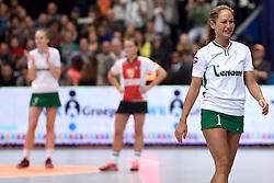 11-04-2015 NED: PKC SWKgroep - TOP Quoratio, Rotterdam<br /> Korfbal Leaguefinale in een volgepakt Ahoy / <br /> Vreugde bij PKC als zij met 22-21 de finale winnen. Mady Tims neemt emotioneel afscheid
