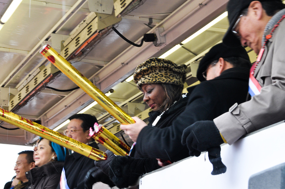 Mayoral candidate Carol Moseley Braun (center), at the Chinese New Year Parade, Chinatown, Chicago, 2011