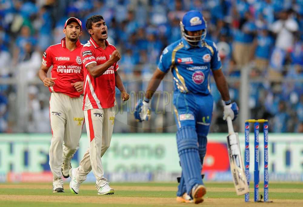Sandeep Sharma of the Kings X1 Punjab celebrates the wicket of Ambati Rayudu of the Mumbai Indians during match 22 of the Pepsi Indian Premier League Season 2014 between the Mumbai Indians and the Kings XI Punjab held at the Wankhede Cricket Stadium, Mumbai, India on the 3rd May  2014<br /> <br /> Photo by Pal Pillai / IPL / SPORTZPICS<br /> <br /> <br /> <br /> Image use subject to terms and conditions which can be found here:  http://sportzpics.photoshelter.com/gallery/Pepsi-IPL-Image-terms-and-conditions/G00004VW1IVJ.gB0/C0000TScjhBM6ikg