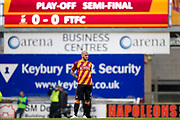 Bradford City midfielder Nicky Law (4) gets ready to start the play off first leg during the EFL Sky Bet League 1 play off first leg match between Bradford City and Fleetwood Town at the Coral Windows Stadium, Bradford, England on 4 May 2017. Photo by Simon Davies.
