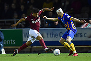 Northampton Town midfielder (on loan from Legia Warsaw) Hildeberto Pereira (28) takes on Shrewsbury Town defender Mat Sadler (5) during the EFL Sky Bet League 1 match between Northampton Town and Shrewsbury Town at Sixfields Stadium, Northampton, England on 20 March 2018. Picture by Dennis Goodwin.