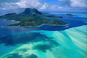 Aerial image of Bora Bora, French Polynesia, Tahiti