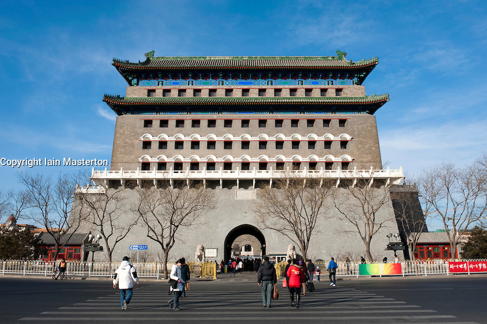 Qianmen Gate at entrance to Tiananmen Square in Beijing China
