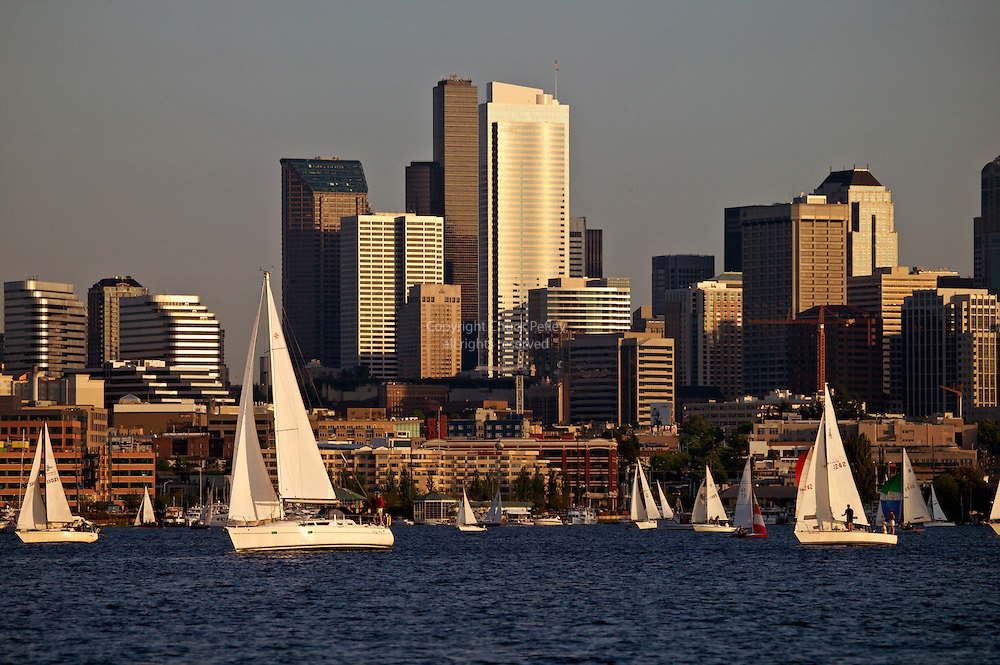 Duck Dodge sailboat racing on Lake Union, Seattle, Washington<br />