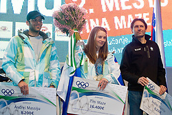 Slovenian 2-times silver medalist alpine skier Tina Maze and her coaches Andrej Perovsek (L) and Andrea Massi (R)  at reception at Preseren's square when she came from Vancouver after Winter Olympic games 2010, on February 28, 2010 in Center of Ljubljana, Slovenia. (Photo by Vid Ponikvar / Sportida)