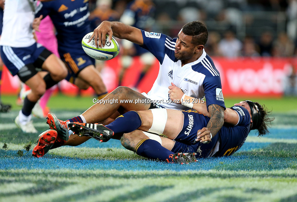 Blues Frank Halai  during the Super 15 rugby match between the Highlanders and the Blues at Forsyth Barr Stadium, Dunedin, Saturday, April 18, 2015. Photo: Dianne Manson / www.photosport.co.nz