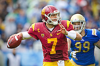 17 October 2012: Quarterback (7) Matt Barkley of the USC Trojans passes the ball against the UCLA Bruins during the second half of UCLA's 38-28 victory over USC at the Rose Bowl in Pasadena, CA.