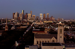 elevated view of downtown Houston from Hotel ZaZa featuring St. Paul's Methodist Church in the foreground