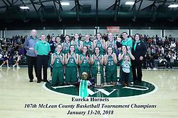 20 January 2018: Eureka Hornets b Lexington Minutemen. IHSA Girls Basketball game during the McLean County Tournament at Shirk Center in Bloomington Illinois