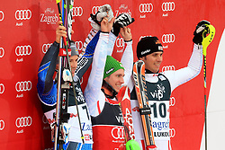 06.01.2013, Crveni Spust, Zagreb, CRO, FIS Ski Alpin Weltcup, Slalom, Herren, Podium, im Bild v.l.n.r. Andre Myhrer (SWE, Platz 2), Marcel Hirscher (AUT, Platz 1) und Mario Matt (AUT, platz 3) // f.l.t.r. 2nd place Andre Myhrer of Sweden, 1st place Marcel Hirscher of Austria and 3th place Mario Matt of Austria celebrate on podium of the mens Slalom of the FIS ski alpine world cup at Crveni Spust course in Zagreb, Croatia on 2013/01/06. EXPA Pictures © 2013, PhotoCredit: EXPA/ Pixsell/ Zeljko Lukunic..***** ATTENTION - for AUT, SLO, SUI, ITA, FRA only *****
