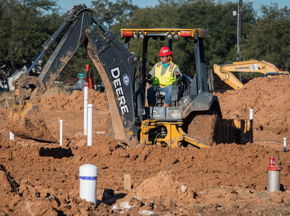 Construction at the site of the new Mickey Leland College Preparatory Academy, January 19, 2016.