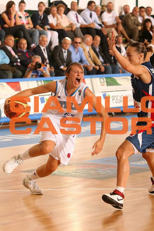 DESCRIZIONE : Chieti Italy Italia Eurobasket Women 2007 Italia Italy Francia France <br /> GIOCATORE : Giorgia Sottana <br /> SQUADRA : Nazionale Italia Donne Femminile <br /> EVENTO : Eurobasket Women 2007 Campionati Europei Donne 2007<br /> GARA : Italia Italy Francia France <br /> DATA : 26/09/2007 <br /> CATEGORIA : Penetrazione <br /> SPORT : Pallacanestro <br /> AUTORE : Agenzia Ciamillo-Castoria/E.Castoria <br /> Galleria : Eurobasket Women 2007 <br /> Fotonotizia : Chieti Italy Italia Eurobasket Women 2007 Italia Italy Francia France <br /> Predefinita :