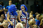Great Britain fans celebrate a break of serve during the 2016 Davis Cup Semi Final between Great Britain and Argentina at the Emirates Arena, Glasgow, United Kingdom on 17 September 2016. Photo by Craig Doyle.