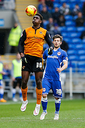 Kortney Hause of Wolverhampton Wanderers is challenged by Matthew Kennedy of Cardiff City - Photo mandatory by-line: Rogan Thomson/JMP - 07966 386802 - 28/02/2015 - SPORT - FOOTBALL - Cardiff, Wales - Cardiff City Stadium - Cardiff City v Wolverhampton Wanderers - Sky Bet Championship.