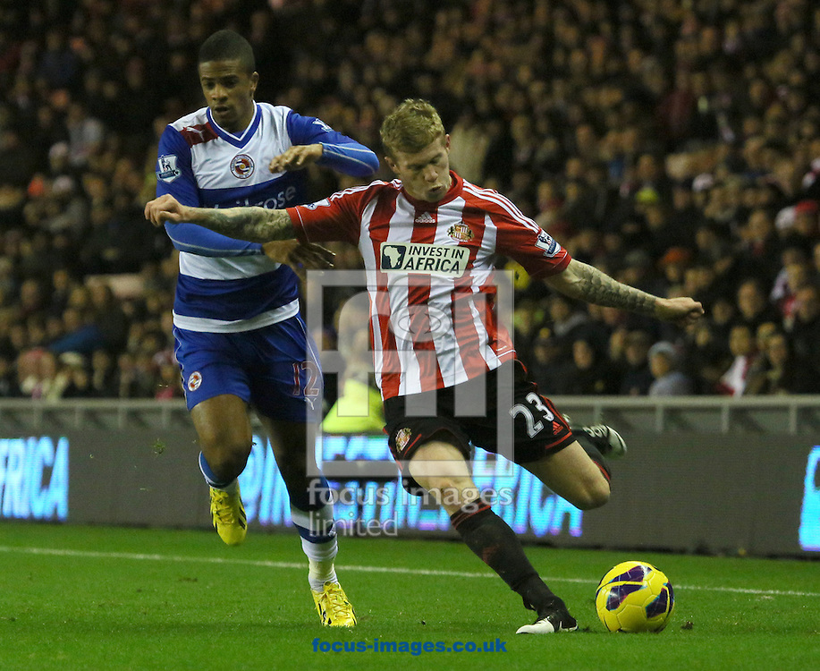 Picture by Paul Gaythorpe/Focus Images Ltd +447771 871632.11/12/2012.Gareth McCleary of Reading and James McClean of Sunderland during the Barclays Premier League match at the Stadium Of Light, Sunderland.