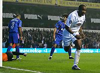 Photo: Tom Dulat.<br /> Tottenham Hotspur v Getafe. UEFA Cup. 25/10/2007.<br /> Jermain Defoe of Tottenham Hotspur opens the scoring.1-0