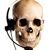 Skull and headset. Customer service is dead