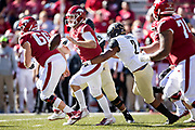 FAYETTEVILLE, AR - OCTOBER 27:  Ty Storey #4 of the Arkansas Razorbacks is hit from behind and fumbles the ball by Frank Coppet #2 of the Vanderbilt Commodores at Razorback Stadium on October 27, 2018 in Fayetteville, Arkansas.  The Commodores defeated the Razorbacks 45-31.  (Photo by Wesley Hitt/Getty Images) *** Local Caption *** Ty Storey; Frank Coppet
