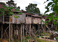 Rear view of the Murat Longhouse on the Skrang River in Sarawak, Borneo, Malaysia.